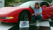 Tina Miller of Kitchener, Ont., took delivery of her new 2004 Chevrolet Corvette Z06, Sunday, May 30, 2004 at the Hendrick Motorsports complex in Concord, North Carolina.