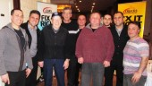 Jacob Yako, owner Past Auto Parts (second from right), poses with custoemrs and a staff with Toronto Maple Leaf great Johnny Bower (third from left), who was a special guest at the DriveClean clinic hosted by the Toronto Jobber.
