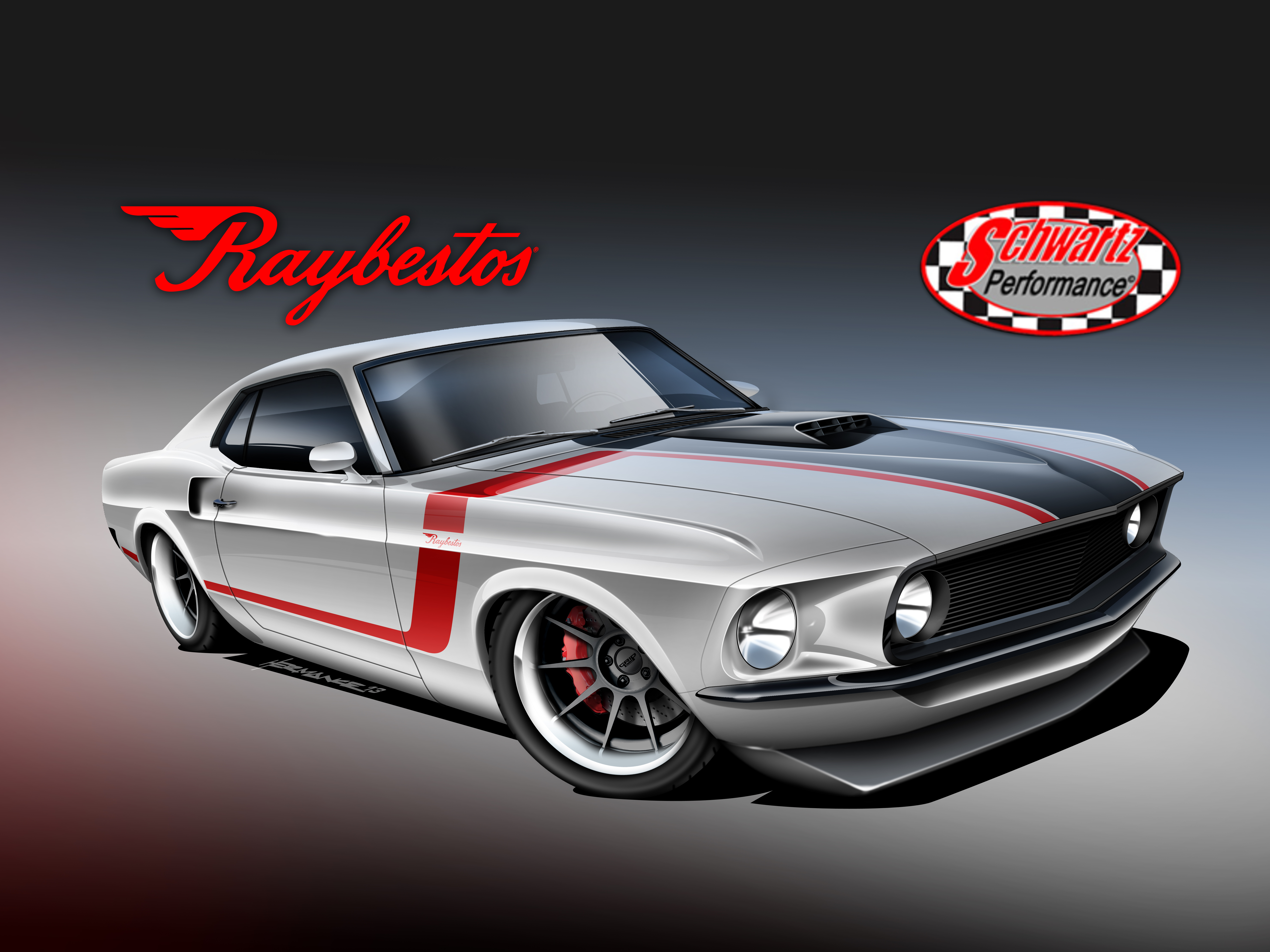 Raybestos unveils rendering of 1969 Mustang Fastback restoration ...