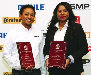 Ken Kuguru, Lumileds, LLC Director-Product Marketing Management, (left) and Ann-Marie Hines, Lumileds, LLC Sr. Marketing Manager (right), with the 2015 Automotive Communications Awards for Best-in-Show and the Best Use of an Ad Graphic