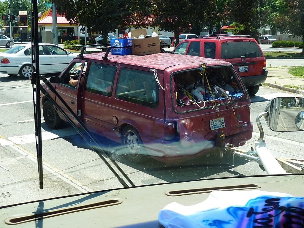 While on a road trip, Vinnie Klimkosz, owner of Vinnie's Mr. Fixit in Guelph, Ont., snapped this picture of an overloaded and severely neglected Dodge Caravan.