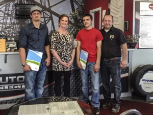 From left: first-year apprentice Daniel Henrie, Beverly Kaltenbruner, third-year-apprentice Abe Banman, and Lethbridge College trades chairman Sheldon Anderson.
